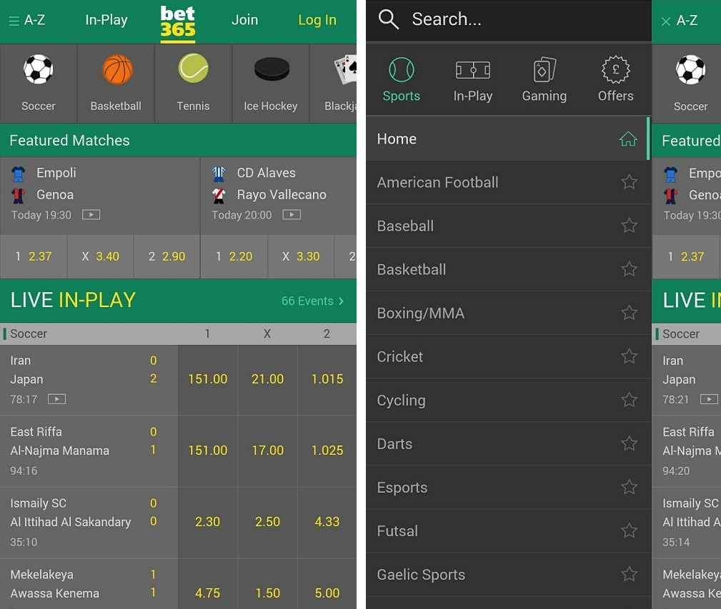 bet365 android application interface