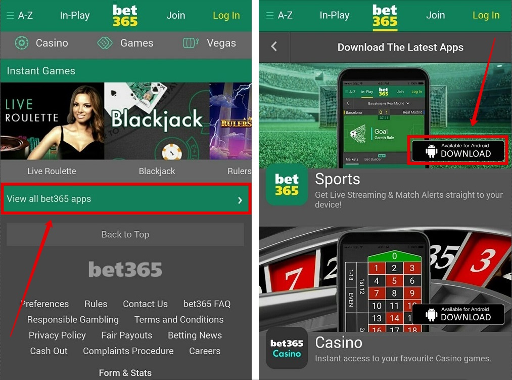 Bet365 android app screenshot