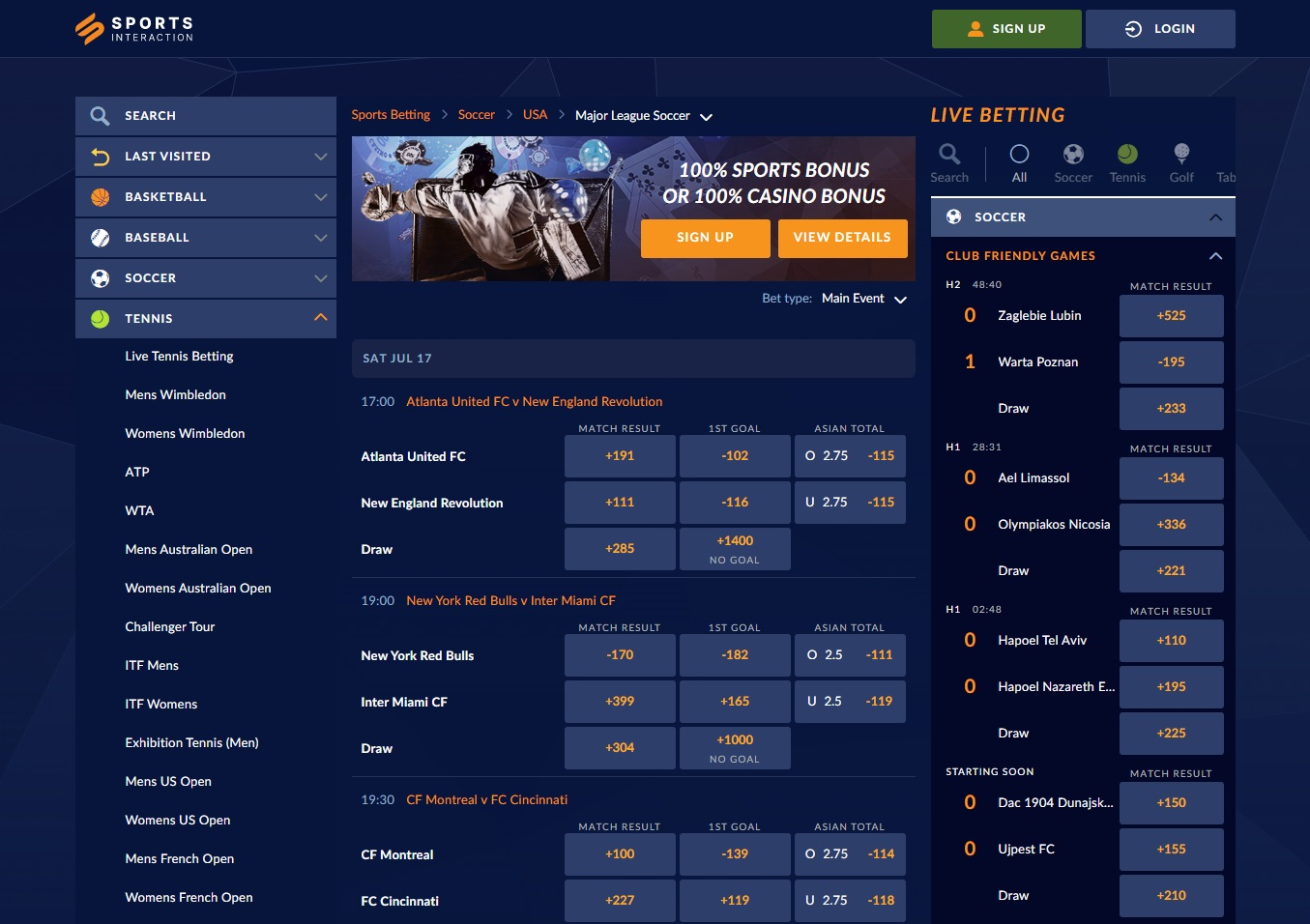 sportsinterection betting