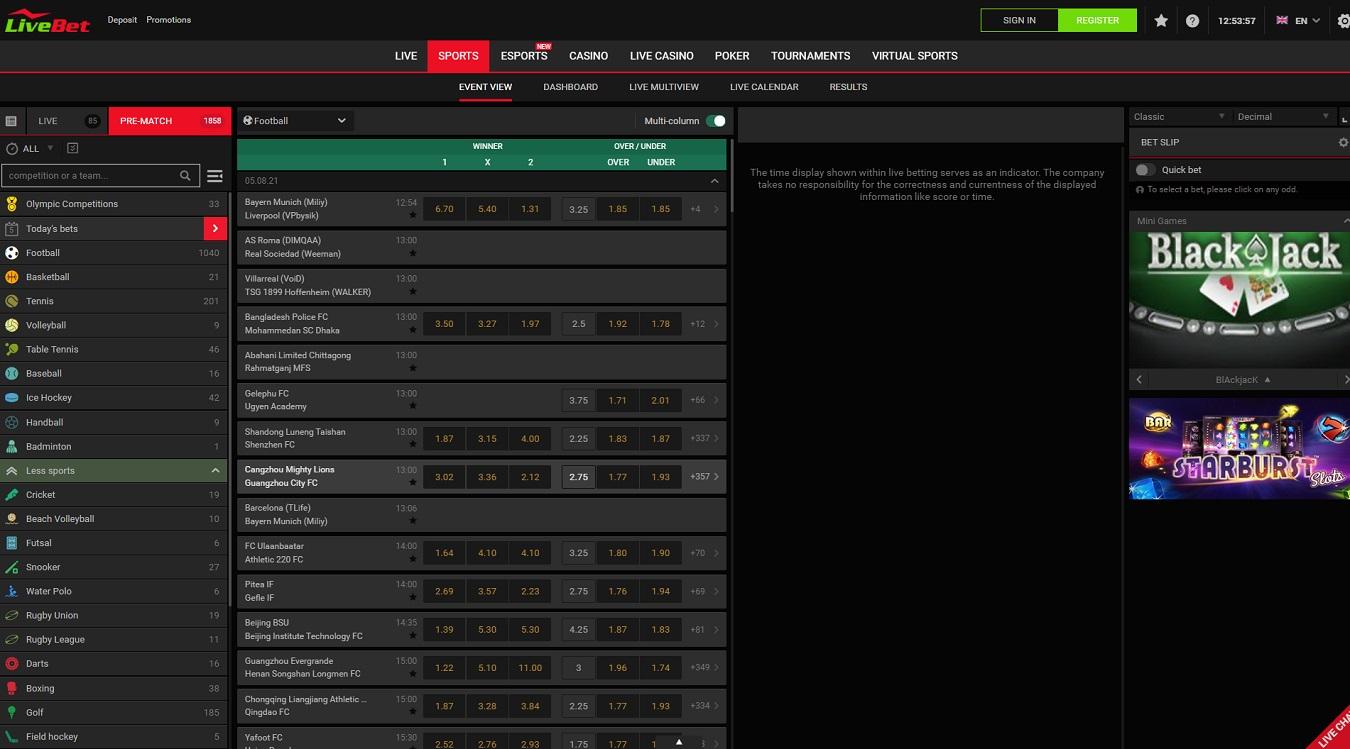 Live bet betting