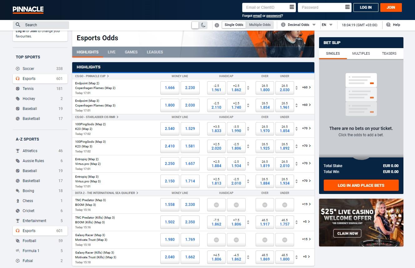 esports betting line