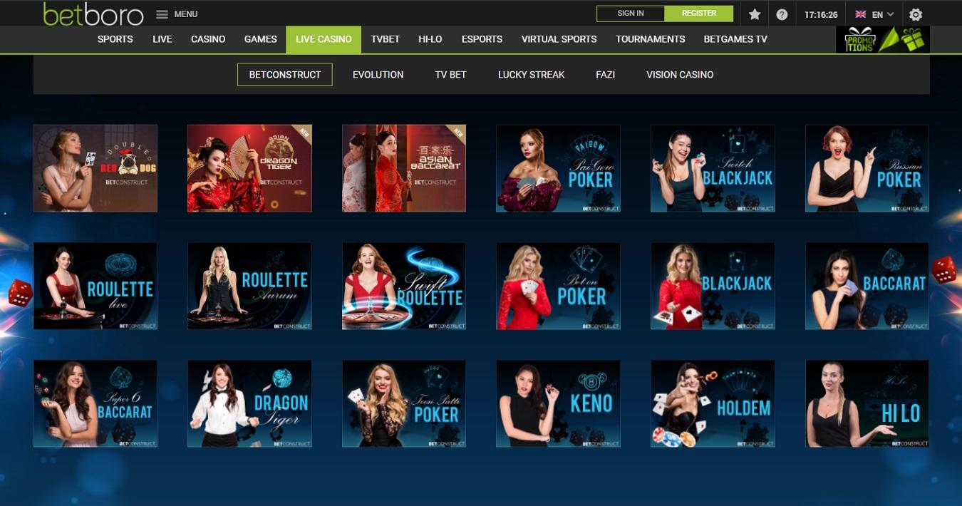 Betboro com live Casino