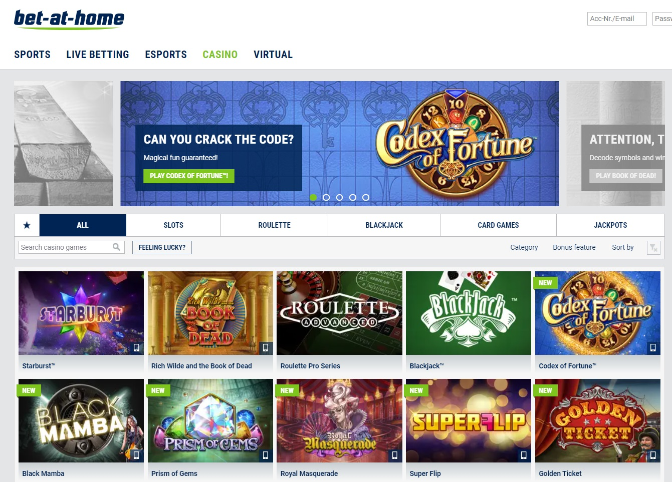 Bet at Home casino games