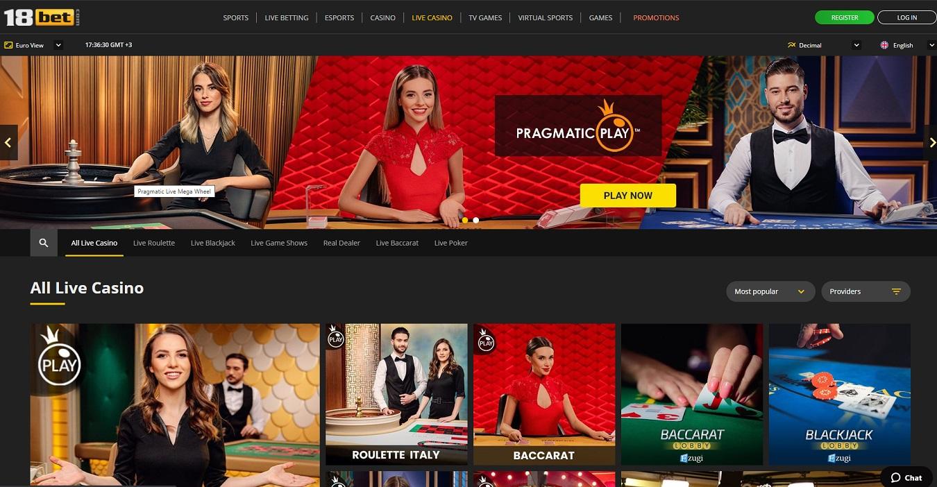 18bet live casino