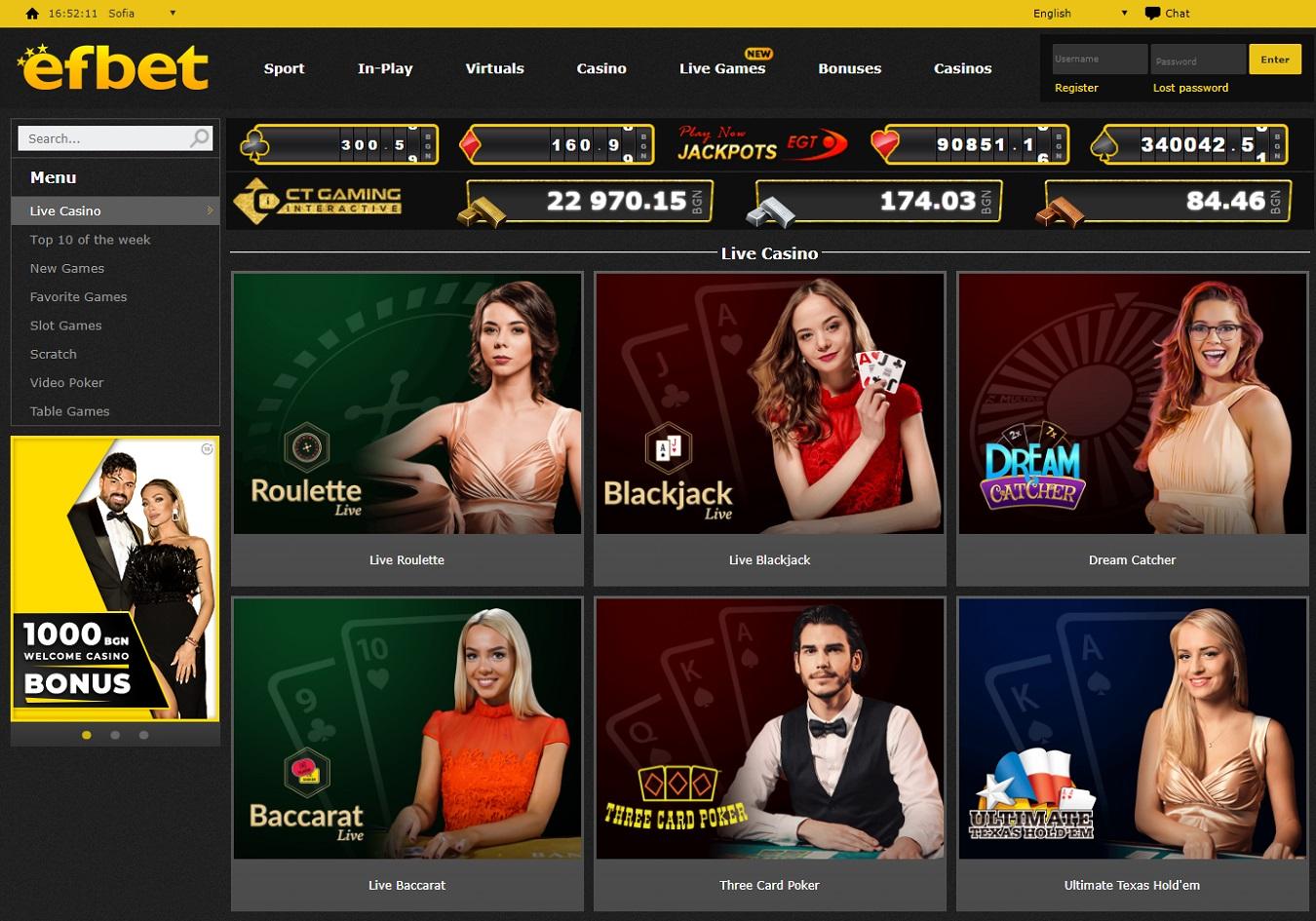 Efbet live casino