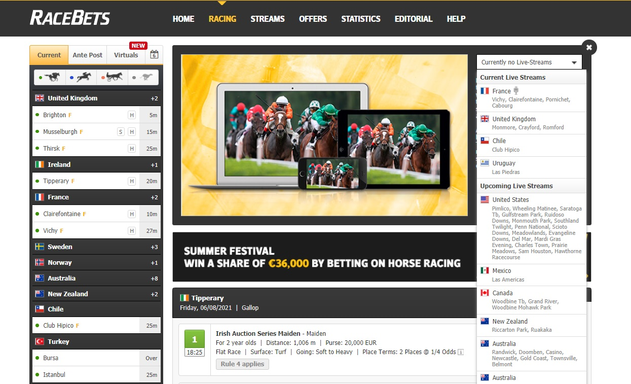 racebets in play betting
