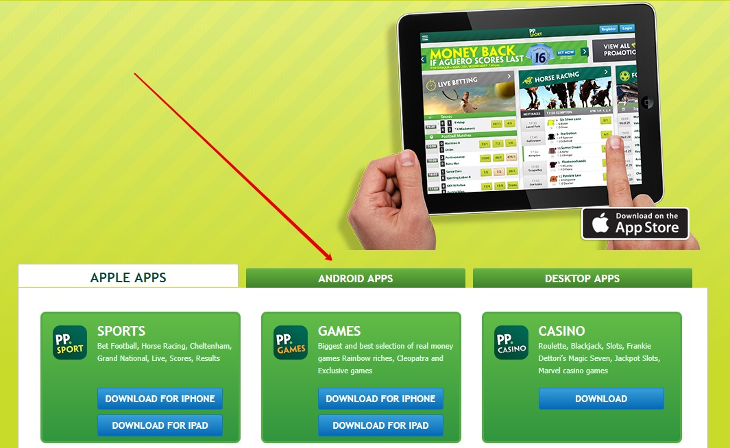 Paddy power app on tablet