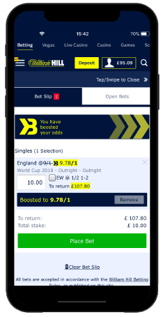 smartphone with william hill app