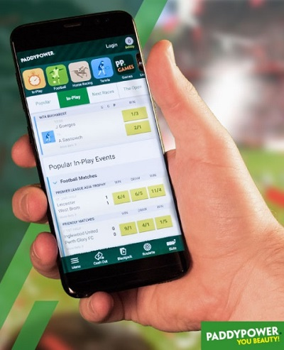 Interface of the paddypower app