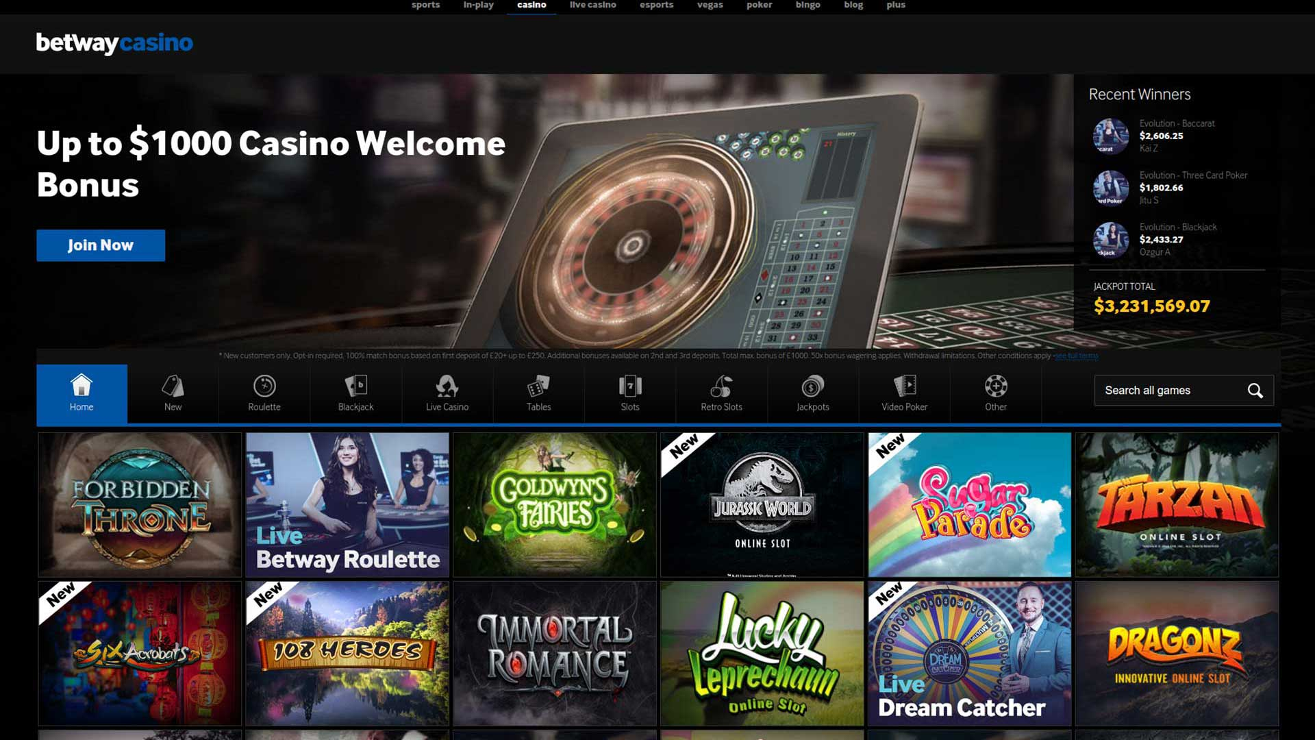 Betway Casino - Bonuses and Free Spins