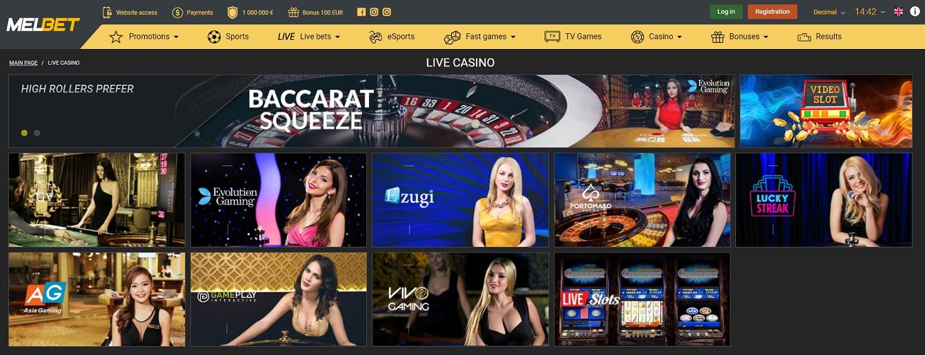 live casino Melbet