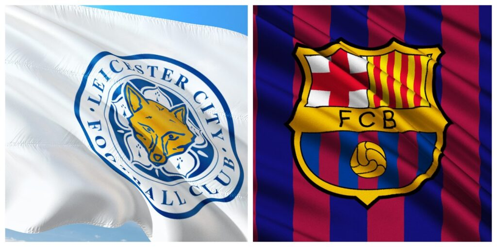 Leicester and Barcelona flags