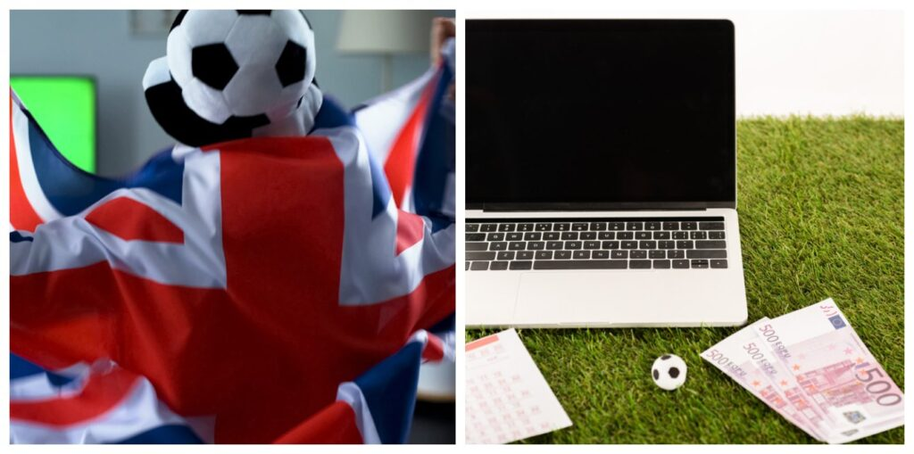 Sports betting in UK and man with british flag