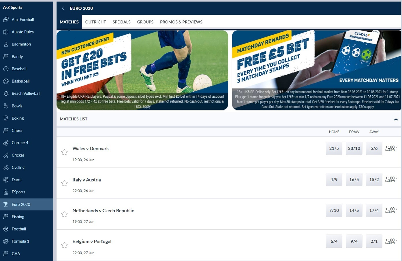 Sports for betting in Coral