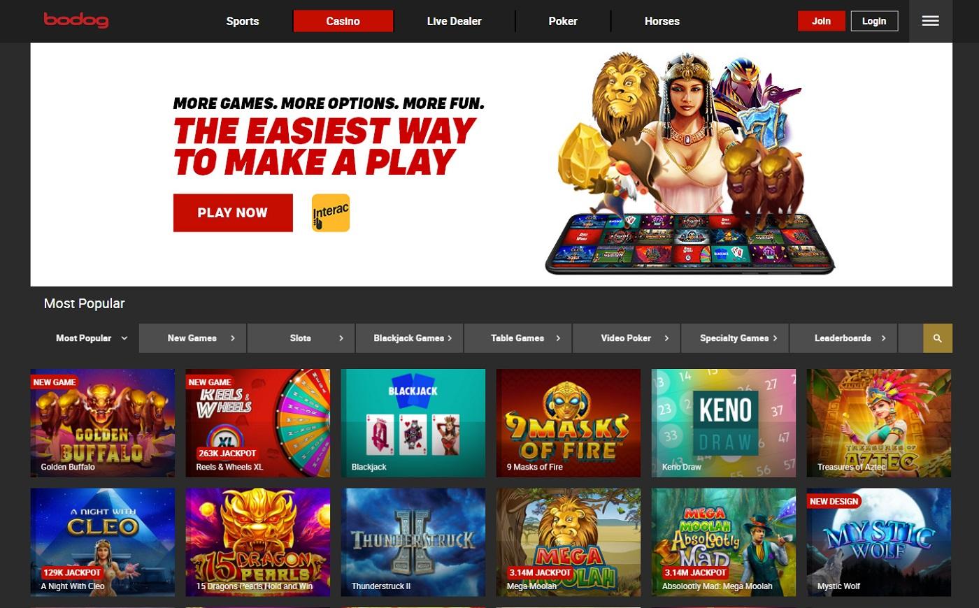 Casino games bodog