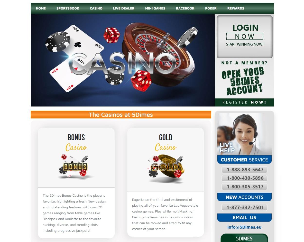 5Dimes casino live